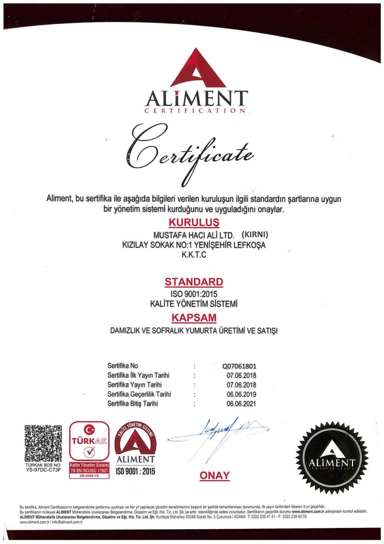 ISO 9001-2015_Yumurtacılık